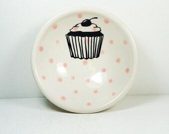 small dish, with a cupcake print on bubblegum pink polkadots - READY TO SHIP