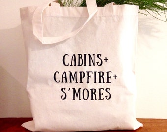 Cabins + Campfire + S'mores Tote | Camping Hiking Outdoor bag |  Canvas Purse Womens Fashion Christmas Gift List