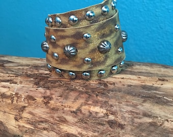 Cheetah Leather Wrap Cuff with Silver Studs and Spots