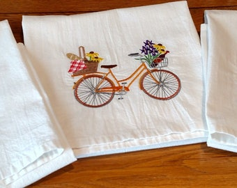 Set of 3 spring bicycle trip flour sack dish towels, tea towels, kitchen towels, picnic bicycle, garden bicycle, spring bicycle, embroidery