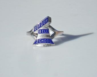Vintage Sterling Silver & Blue Enamel Class Ring - Gordon Bell School