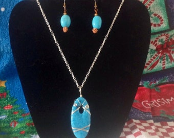 Necklace and earrings set, handmade