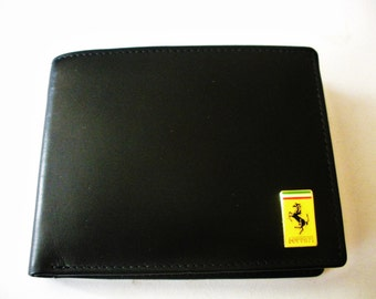 Ferrari Black Italian Leather Men's Bifold Wallet