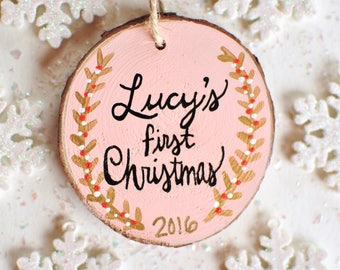 First Christmas Ornament Baby, Girl Ornament, Personalized Gift, Hand Painted Ornament, Baby Shower Gift Girl, Wood Ornament, Baby Keepsake