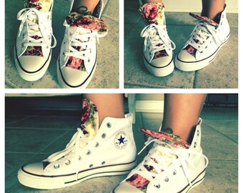 Custom made floral high top converse!!! Perfect for the summer!