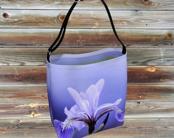 Custom printed Day Totes with ajustable strap. The blueflag Iris, wildflower of the northern marsh. Black and white photography.