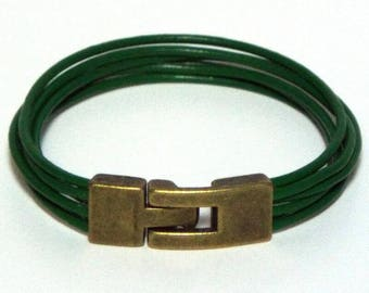 Green Leather Wristband Bracelet