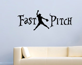 Sport Wall Decals Quotes Fast Pitch Softball Vinyl Decor Stickers Murals MK1215