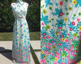 Vintage Floral Maxi Dress Hawaiian 1960s Pink Blue Flower Long Dress Hippie Bohemian Medium