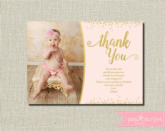 Pink and Gold Thank You Card, Birthday Thank You Card, Glitter Thank You Card, Gold, First Birthday Thank You, Birthday Thank You, Printable
