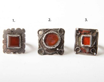 Antique Moroccan silver ring with red stone - different sizes