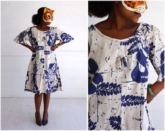 Vintage 60s/70's Blue and White Floral Patterned Short Hawaiian MuuMuu Swing Dress by Liberty House | Medium