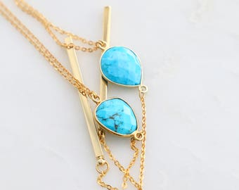 Lariat Necklace - Single Turquoise