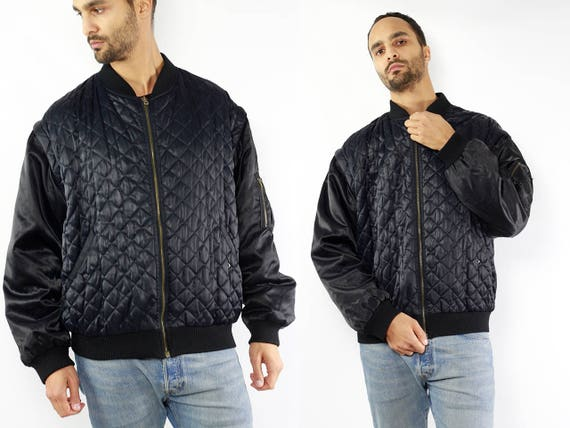 Black Bomber Jacket / 90s Bomber Jacket / Bomber Jacket / Bomber Jacket Men / Quilted Jacket / Quilted Bomber / Quilted Jacket Black / 90s