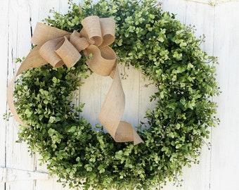 Boxwood Wreath, Farmhouse Decor, Green Wreath, Front Door Wreath, Burlap Wreath, Outdoor Wreath, Year Round Wreath, All Season Wreath