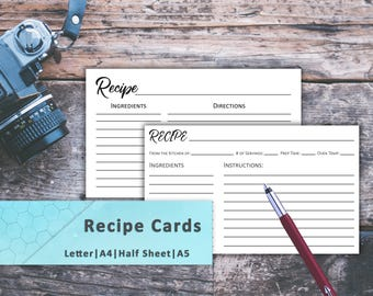 Recipe Cards, Recipe Card Set, Recipe Cards Print, Recipe Card Journal, Recipe Cards 3x5, Recipe Cards 4x6, Grocery, Tracker, Lists, Recipe