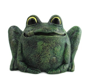 READY TO SHIP Ceramic Garden Frog Pot- hand painted, indoor or outdoor, lawn or garden