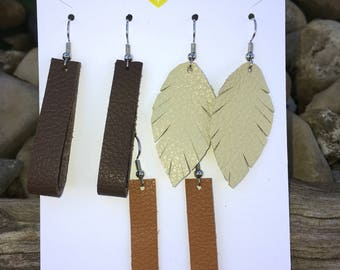 Mix and Match Leather Earring Fall Trio