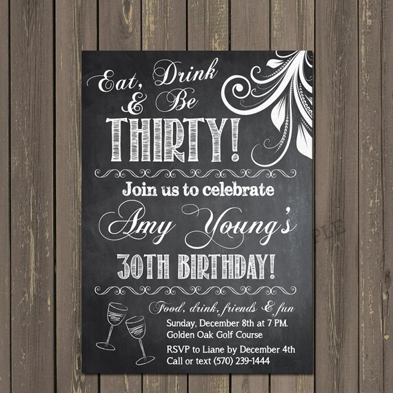 Adult Birthday Invitation 30th Birthday Invitation