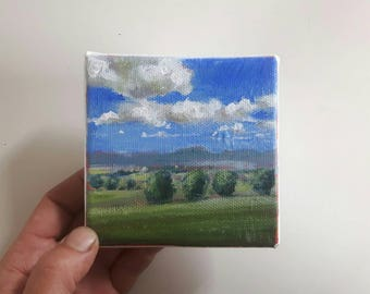 original acrylic painting, landscape painting, small painting, sky painting, 4x4 painting, acrylics on canvas, mini art
