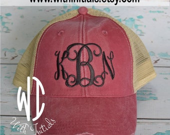 Monogrammed  distressed Trucker Hat Monogram Cap  Monogram Trucker Cap Mesh Back, snap back,  Bridal party or bridesmaid gift