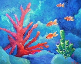 "Coral Reef Painting, Tropical Painting,  Fish Painting, Textured Art, 20x24x1.5"" Original Oil Painting, Free Shipping in US"