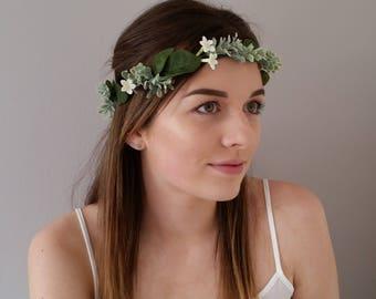 Flower crown White silk Floral crown Headband Hairband Bridal hair wreath Wedding hair accessories Hair flowers Headdress Flower girl Boho