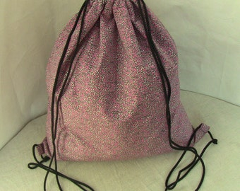 InCorpo drawstring backpack, old rose and ivory pattern, cotton, lining and inside pocket, 37x45cm, for bikers