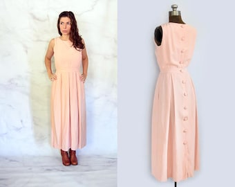 1990s Silk Linen Maxi Dress with Button Back in Blush Pink Size Medium