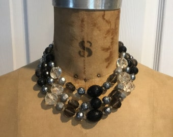 Vintage Three Strand Necklace/gift/shades of gray