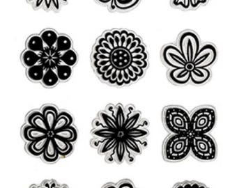 Forever in Time Clear Cling Rubber Stamp Simply Floral Flower Blooms and Petals