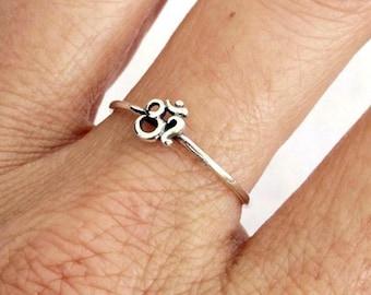 Sterling Silver Ring, Silver OHM Ring, Silver OM Ring, Silver Ring, Silver Band Ring, Sprirutual Jewelry