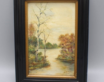 Vintage Small Oil Painting on Board of Lakeside Landscape Framed and Signed 1921