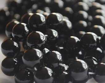 "High Quality Grade A Black Agate Onyx Semi-precious Gemstone Round Beads - 4mm, 6mm, 8mm, 10mm sizes - 16"" strand"
