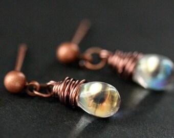 COPPER Earrings - Clear Teardrop Earrings. Post Earrings. Dangle Earrings. Stud Earrings. Handmade Jewelry.