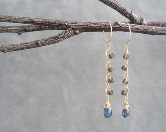 Teal Blue and Brown Earrings - Moss Kyanite and Smoky Quartz - Chandelier Dangles - Semi Precious Stones