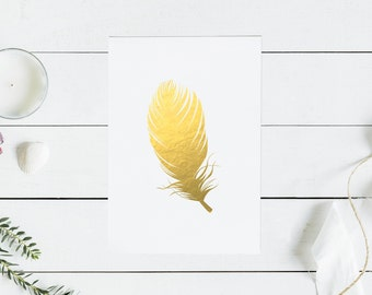Feather gold foil print
