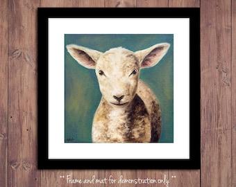 Lamb Print from Original Oil Painting, Farm Art, Lamb Painting, Farm Decor