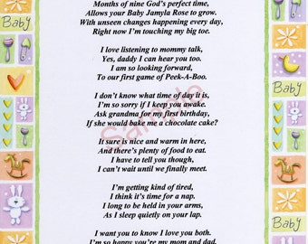 "Six Stanza (Version II) Personalized ""Baby...."" Poem, for expectant parents, shown on ""New Baby"" Background"