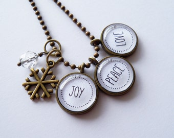 Christmas Necklace - Joy, Peace, Love - Text  Pendant - Word Jewelry - Holiday Gift - Snowflake Charm - Teacher Gift - Christmas Gift