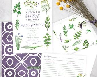 Watercolor Herbs Kitchen Bridal Shower Invitation, Herb Garden Bridal Shower Invite, Bridal Shower Invite, Recipe Shower, Envelope Liner