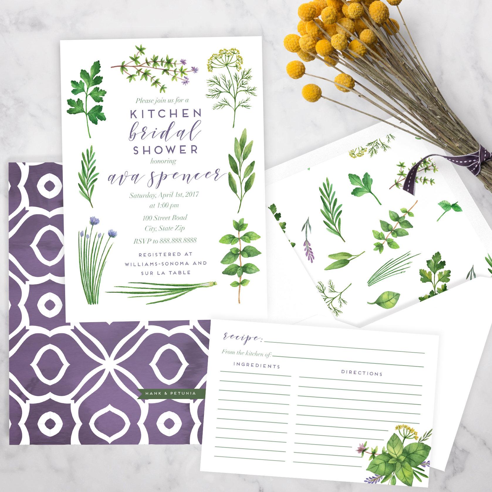 Watercolor Herbs Kitchen Bridal Shower Invitation, Herb Garden ...
