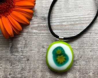 Lime necklace, lime pendant, green fused glass jewellery