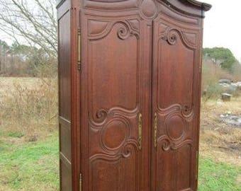 Amazing 18th C French Oak Louis XV Provincial Armoire Wardrobe, Hall Cupboard