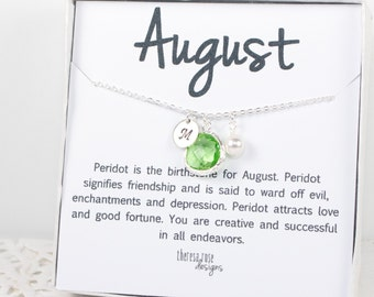 Personalized August Birthstone Peridot Silver Necklace, August Birthday Jewelry, Personalized Silver Necklace, August Birthday Gift #869