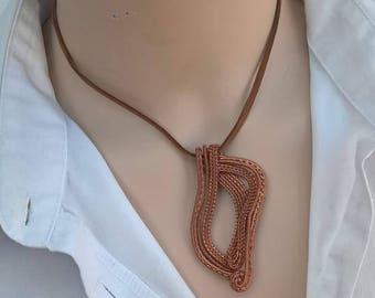 Wire pendant - Wave- copper/sterling silver