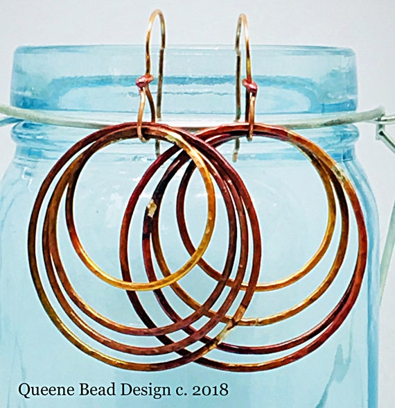 Hoops and Loops Copper Earrings #queenebead