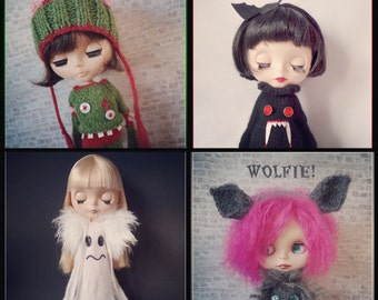 "All FOUR Spooky PDF knitting patterns for 12"" Blythe"
