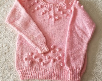 Pretty Pink Hand Knitted Girls Sweater Free Shipping in USA