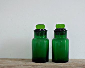 GREEN PHARMACY BOTTLES 2 apothecary bottle glass jars storage containers vintage clear glass bottles drugstore